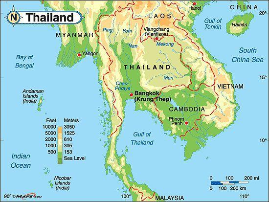 Carte du relief de la Thaïlande