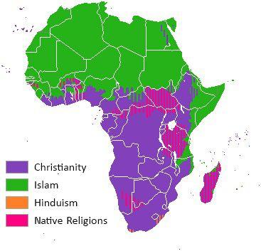 Carte des religions en Afrique