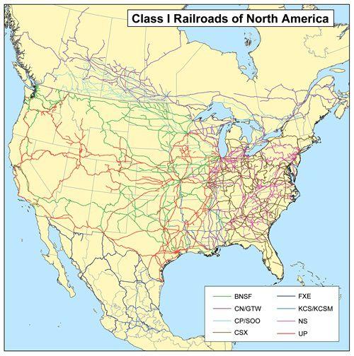 Carte du réseau ferroviaire en Amérique du Nord et Centrale