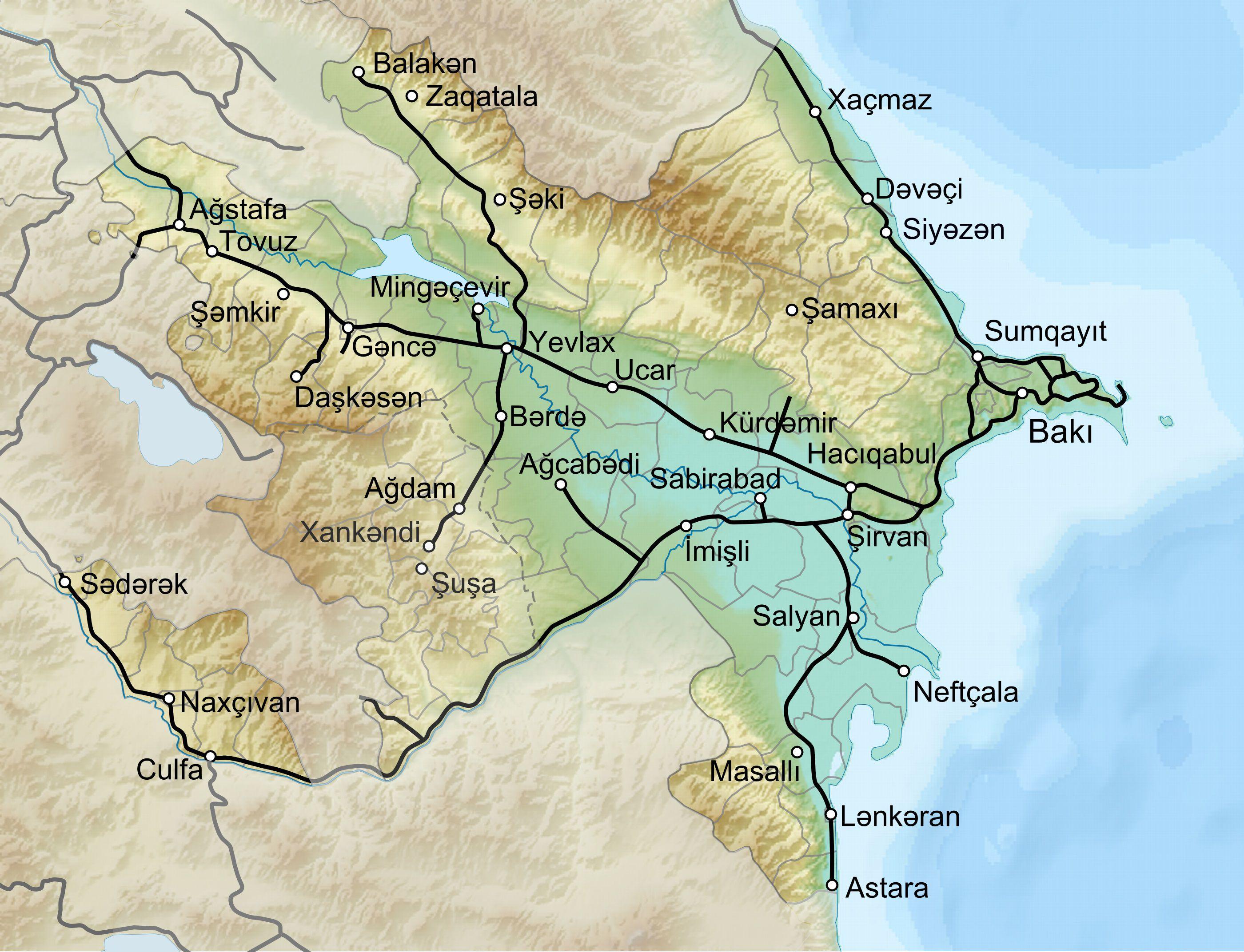 Carte du réseau ferroviaire de l'Azerbaïdjan