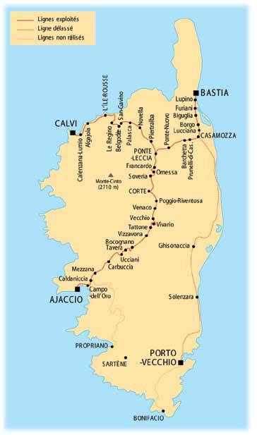 Carte du réseau ferroviaire de Corse