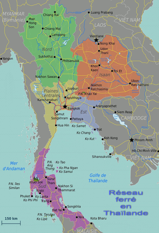 Carte du réseau ferroviaire de la Thaïlande