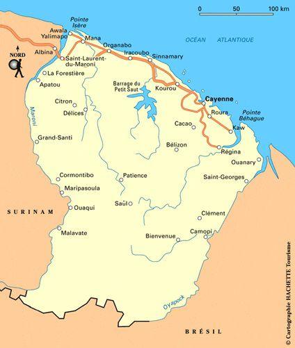 Carte des routes de Guyane