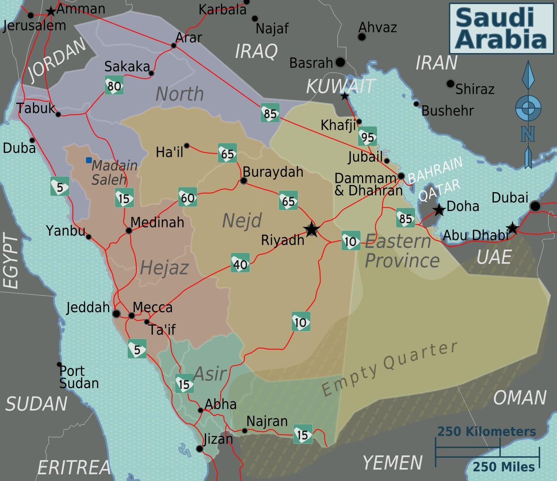 Carte des routes en Arabie Saoudite