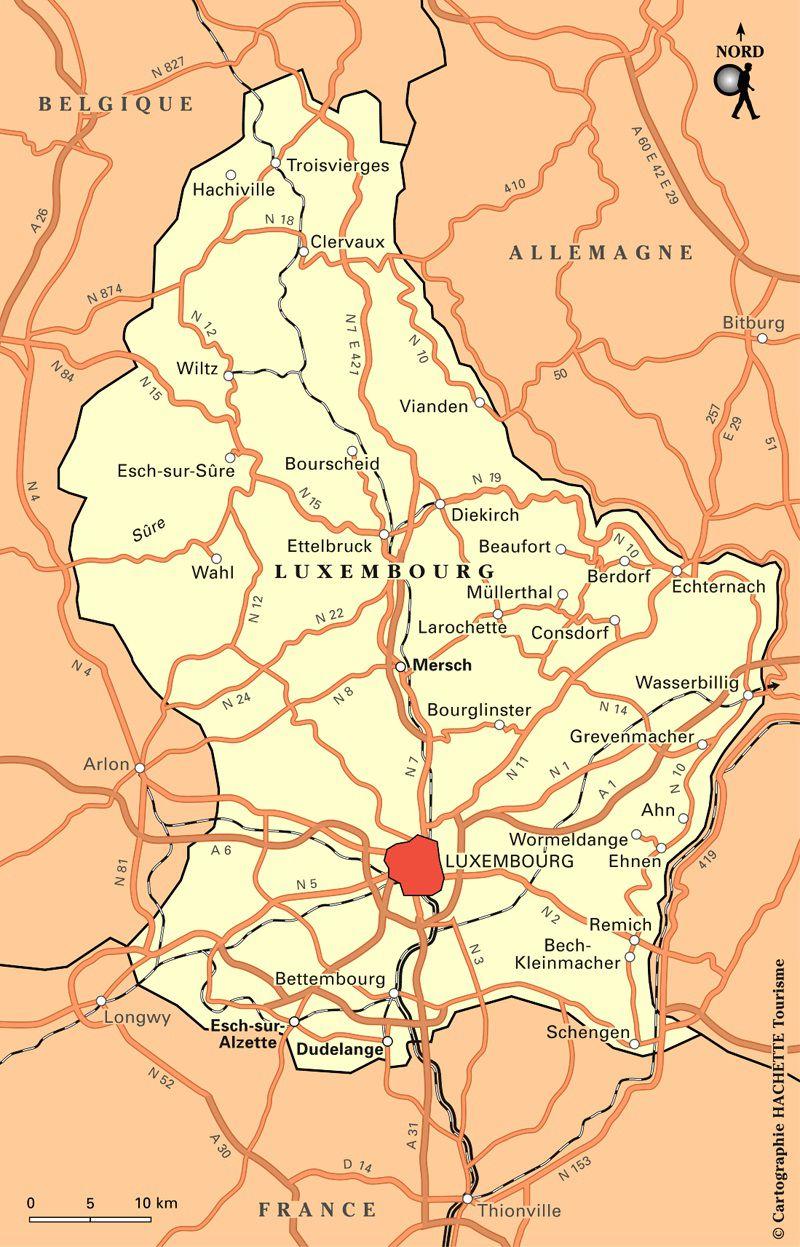 Carte des routes au Luxembourg