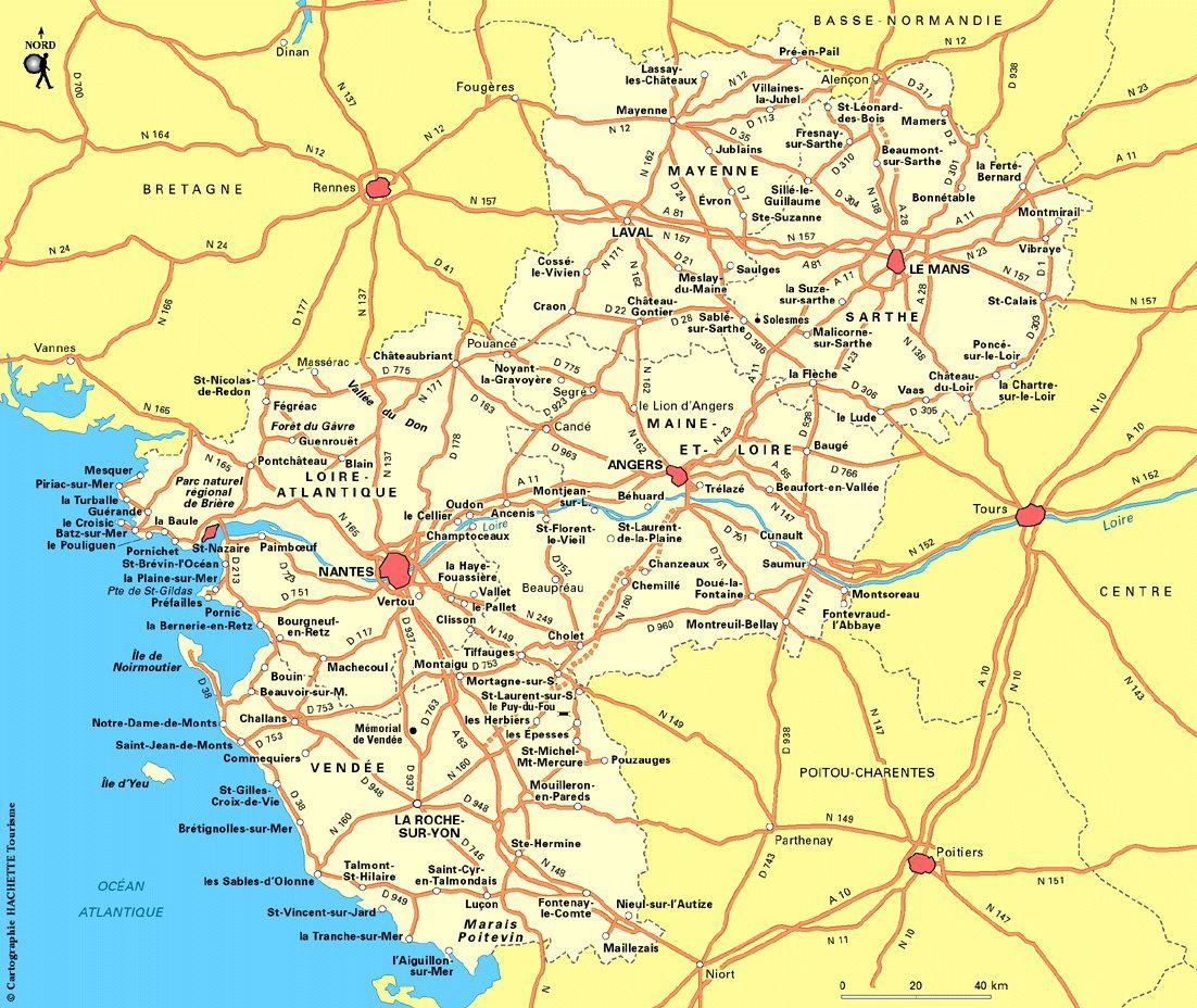 Carte des routes des Pays de la Loire