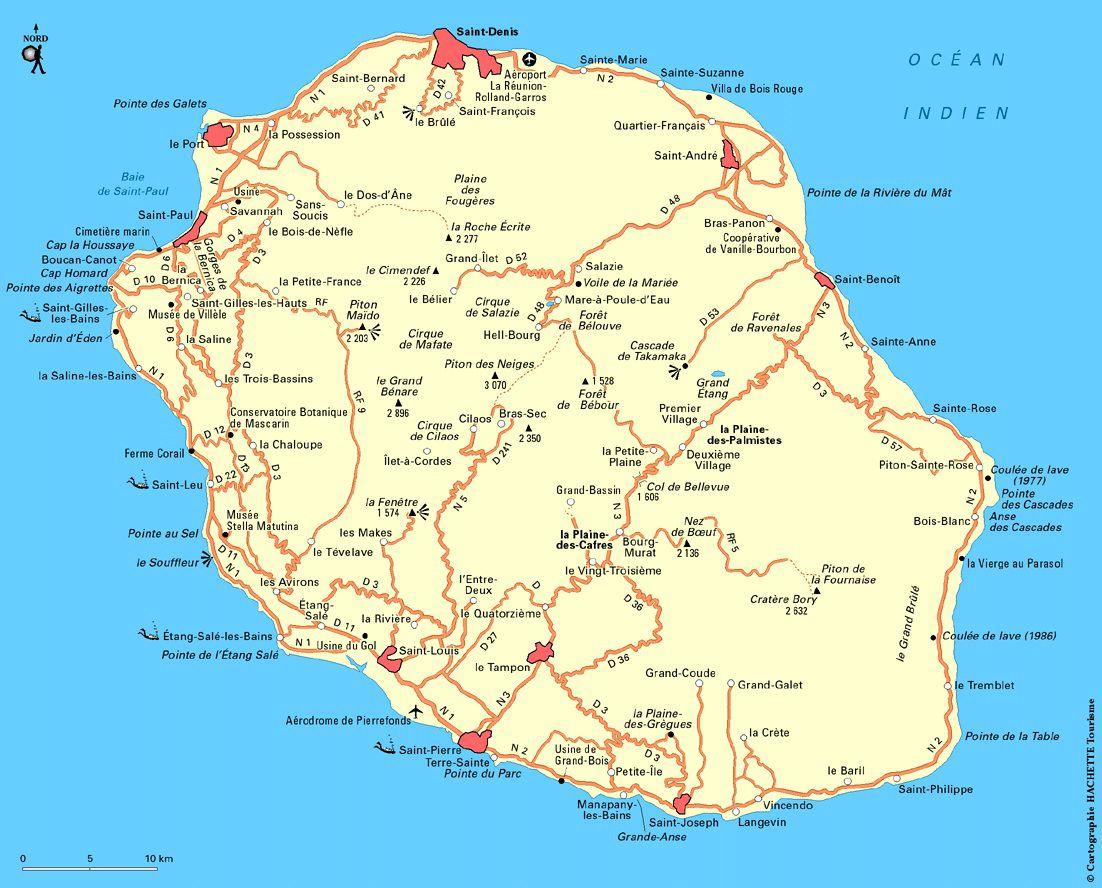 Carte routière de La Réunion