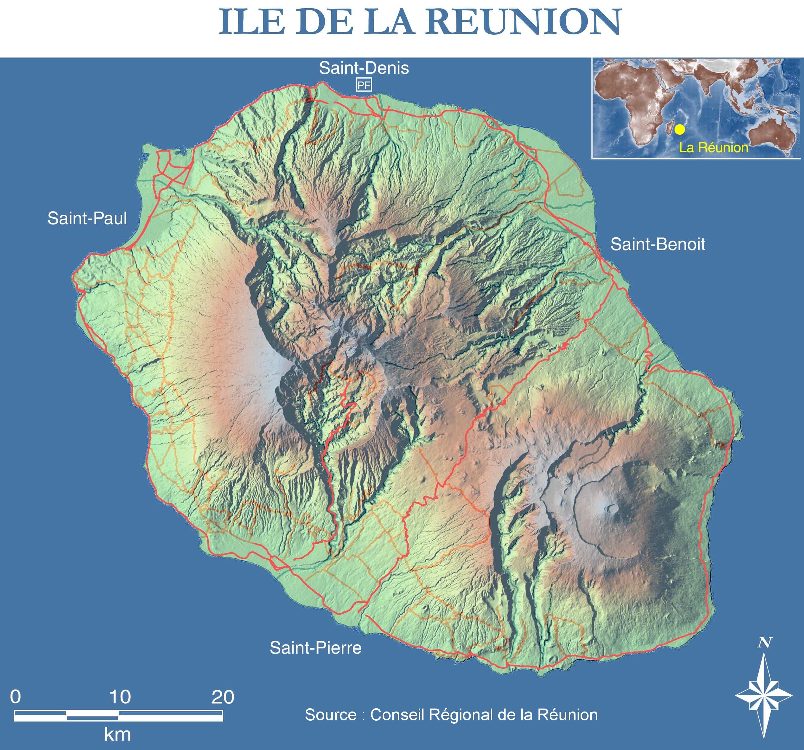 Carte satellite de La Réunion