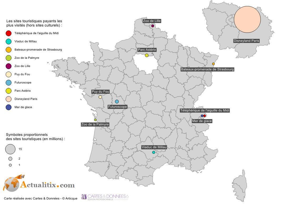 Carte des sites touristiques en France