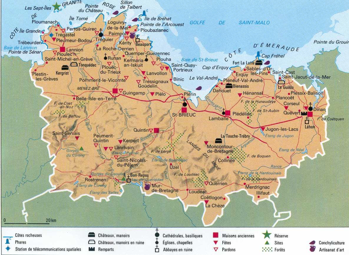 Carte des sites touristiques des Côtes-d'Armor