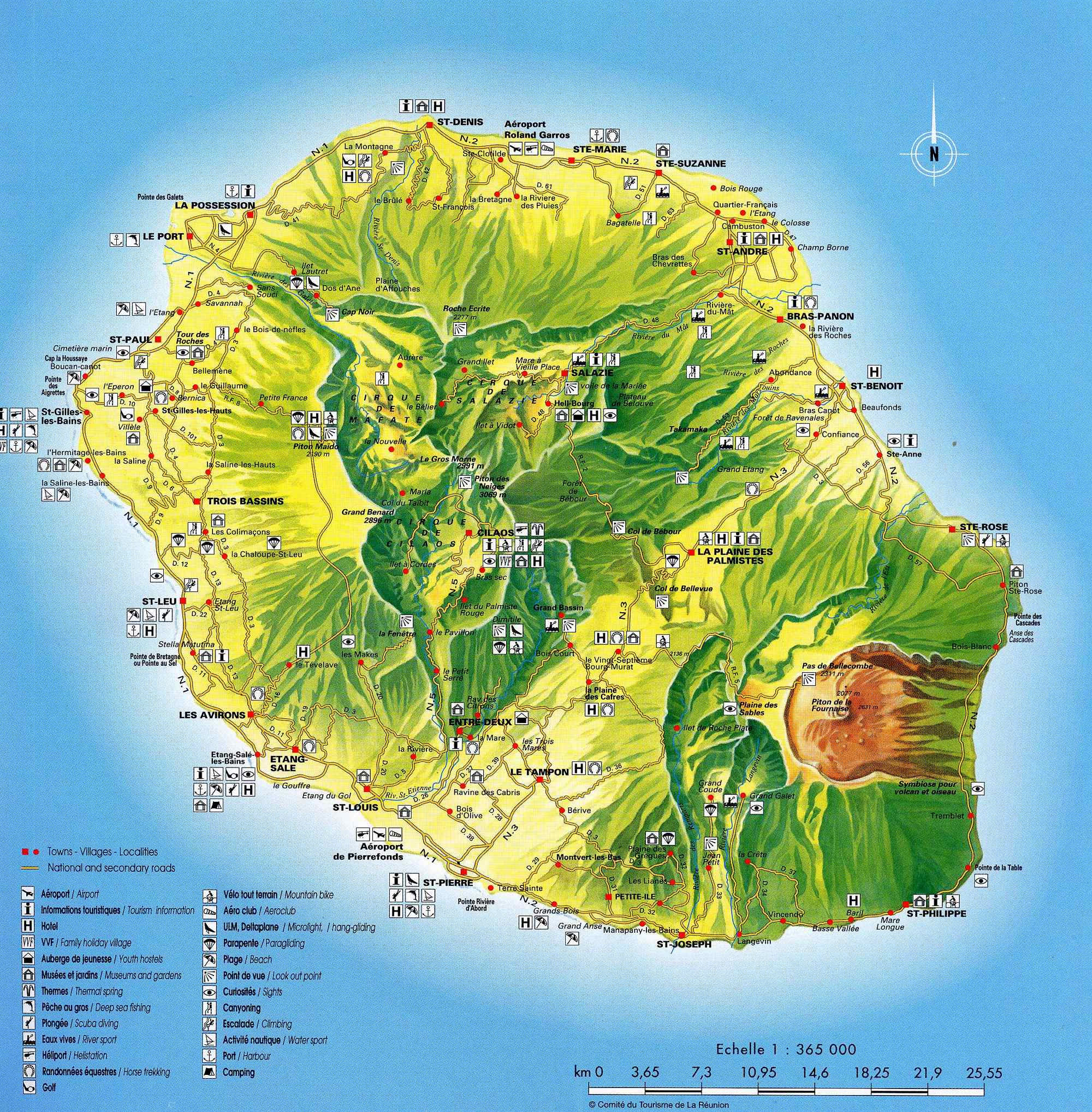 Carte de la r union la r union cartes des villes relief for Entretien jardin ile de la reunion