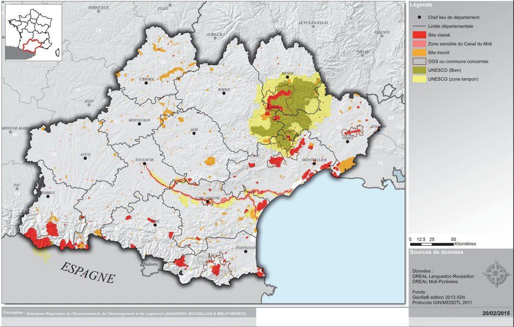 Carte des sites touristiques de l'Occitanie
