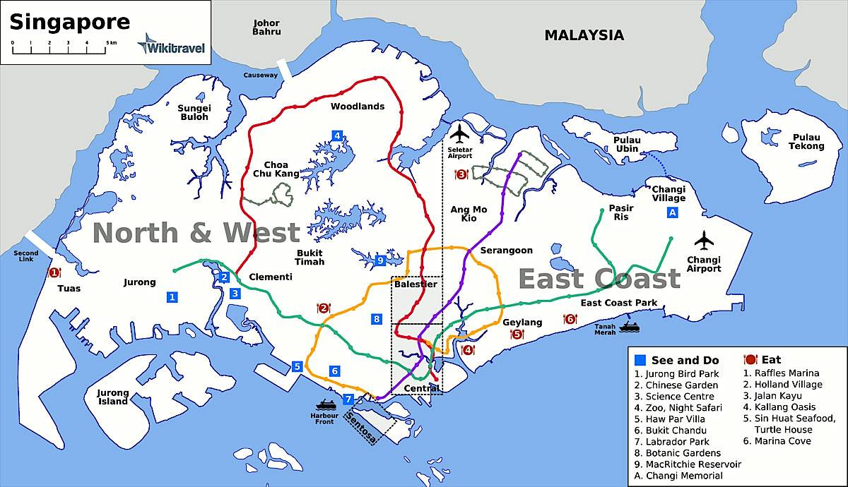Carte des sites touristiques de Singapour