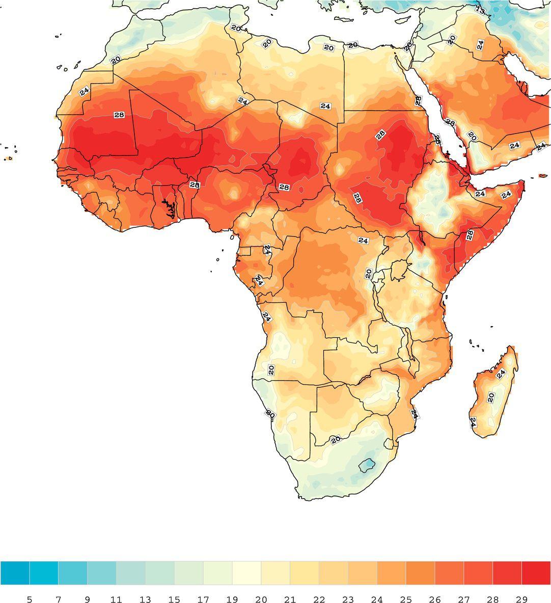 Carte des températures en Afrique