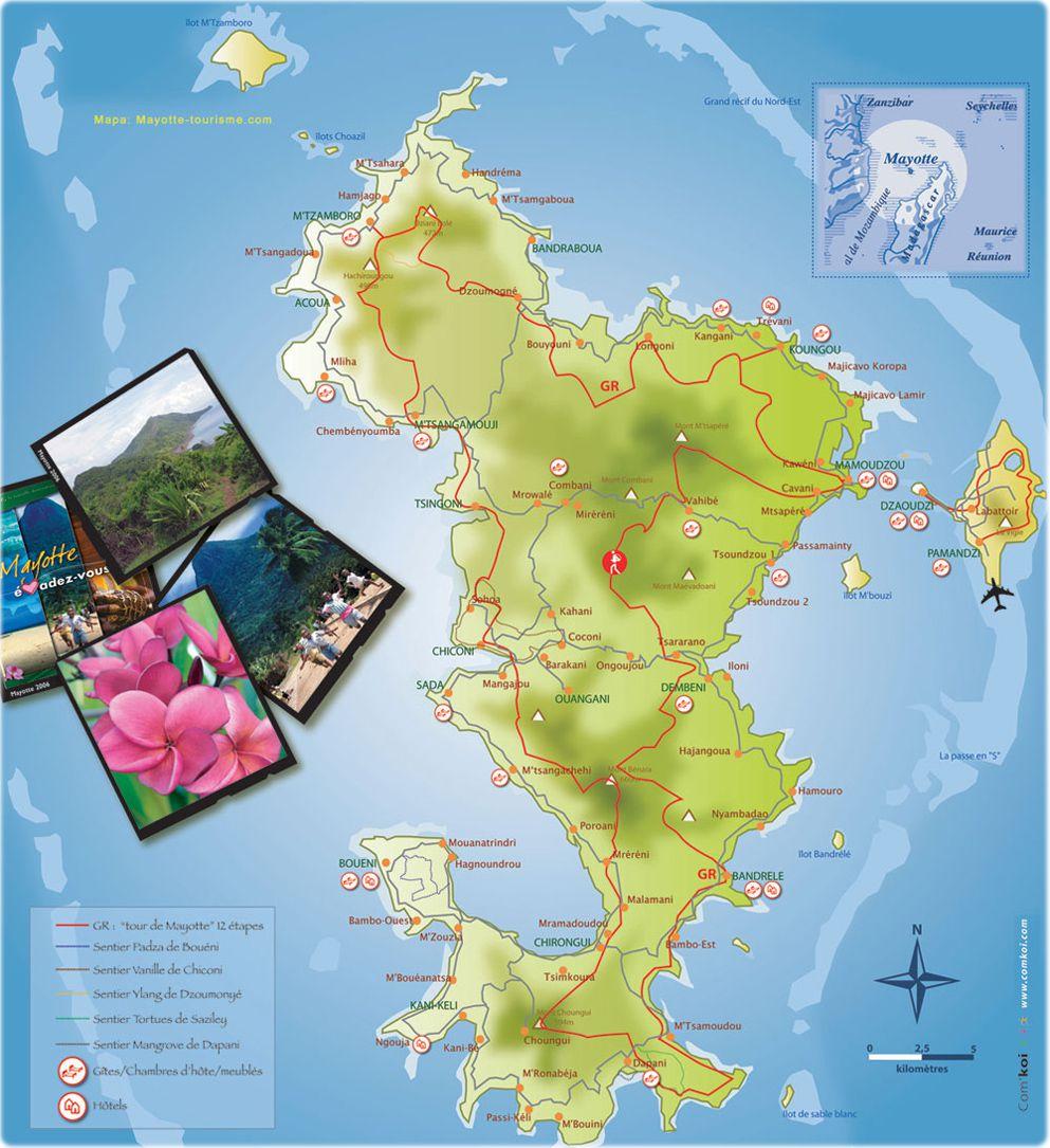 Carte de mayotte mayotte carte des villes relief for Carte touristique