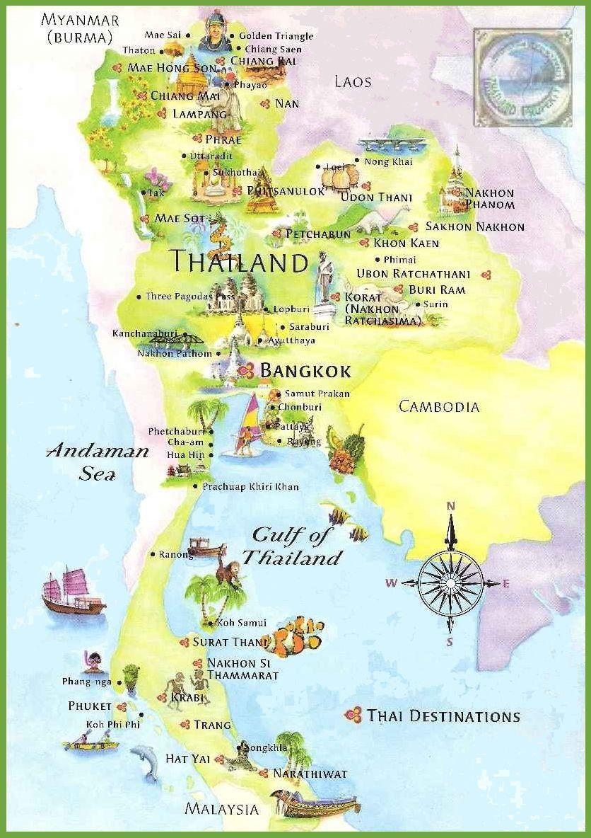 Carte touristique de la Thaïlande