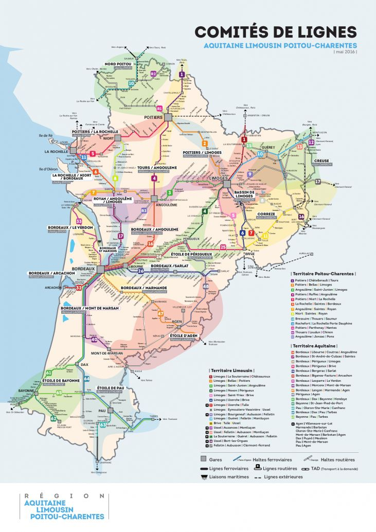 Carte des transports de la Nouvelle-Aquitaine