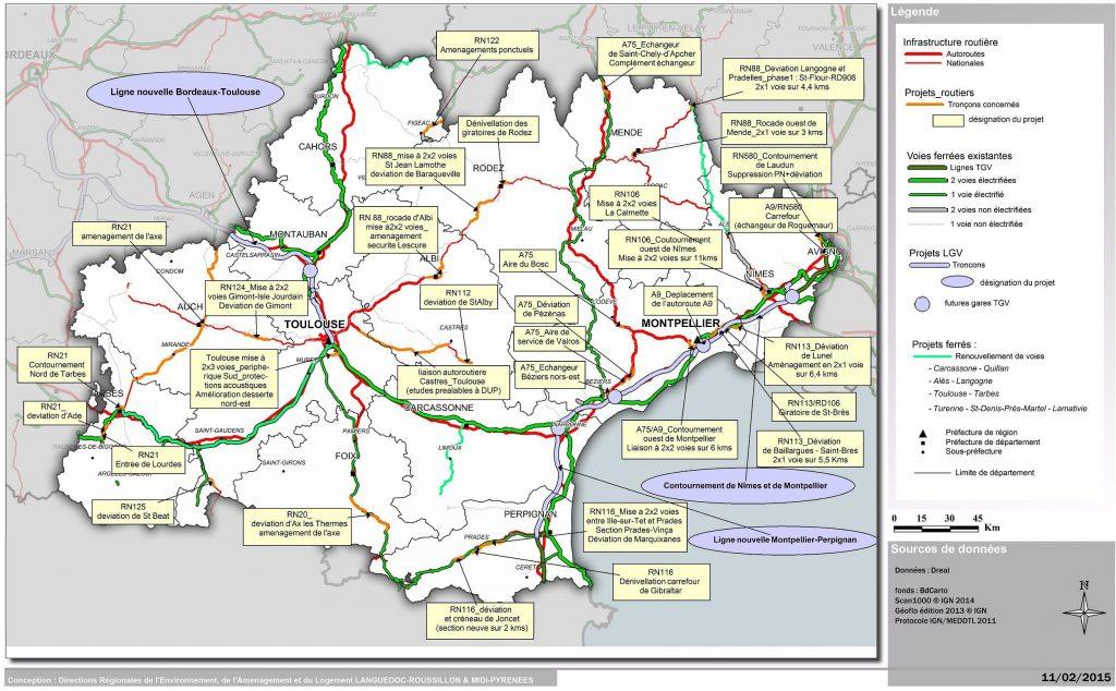 Carte des transports en Occitanie