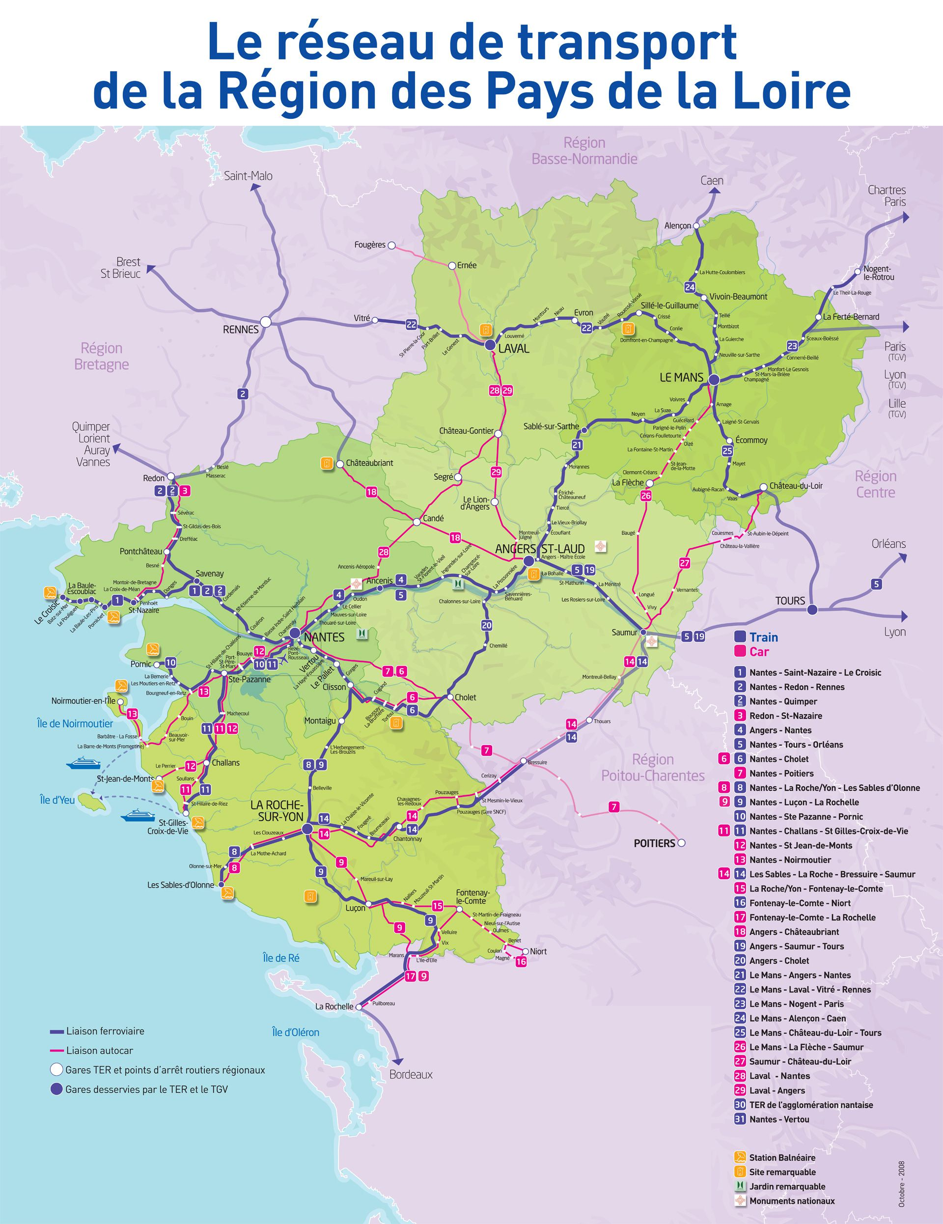 Carte des transports des Pays de la Loire