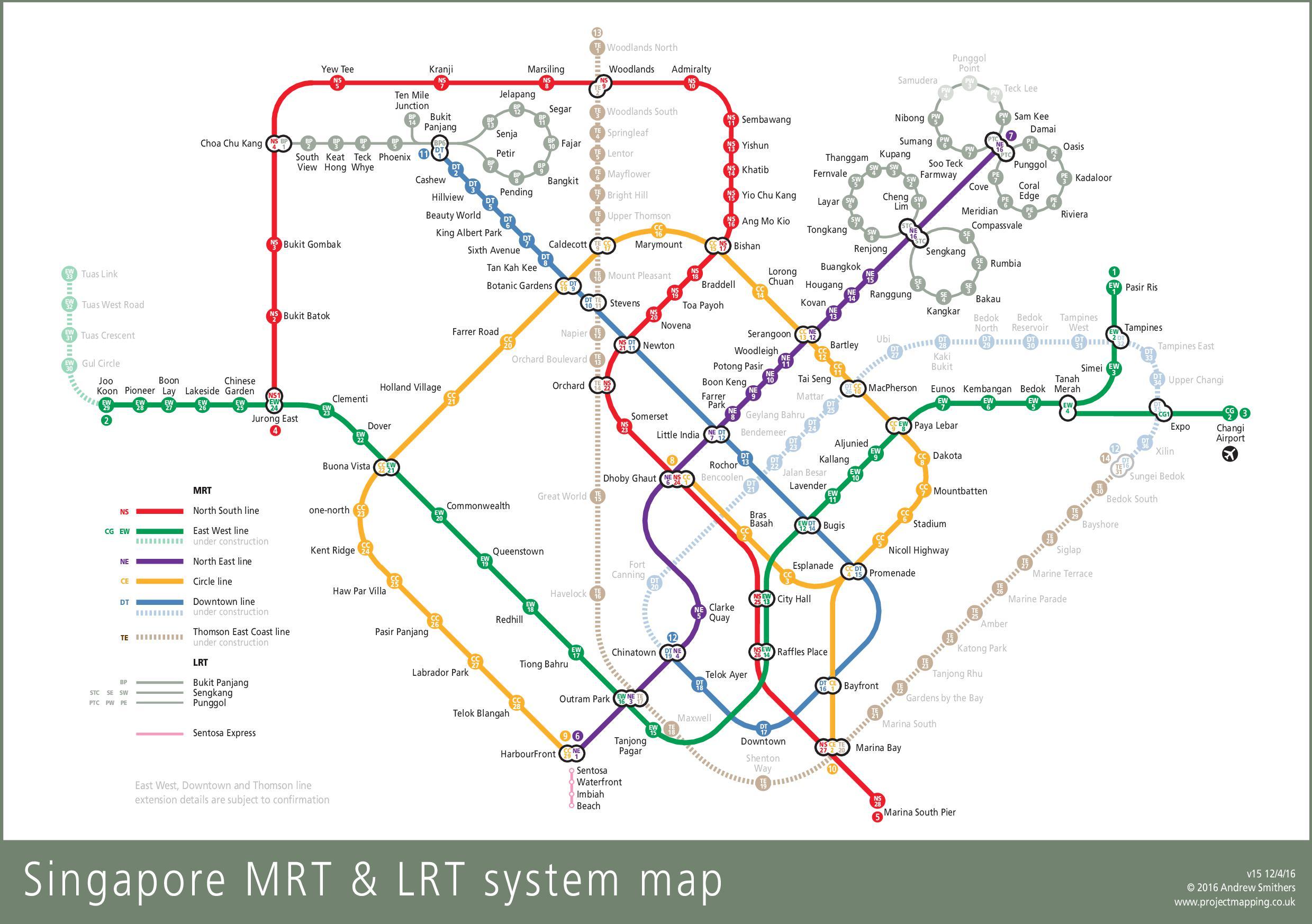 Carte des transports de Singapour