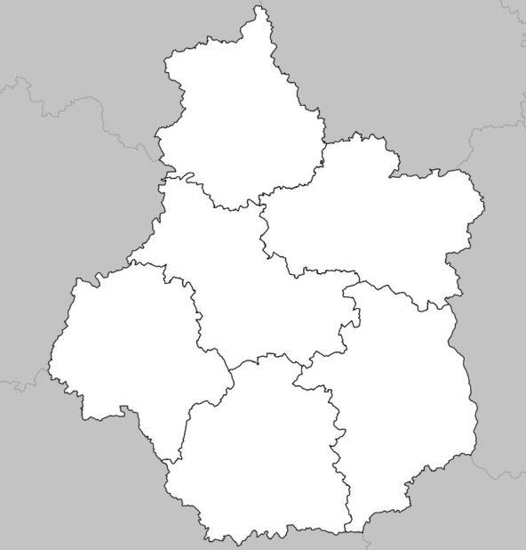 Carte vierge du département Centre-Val de Loire