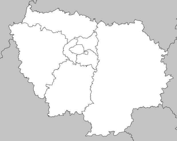 Carte vierge de la région Île de France avec départements