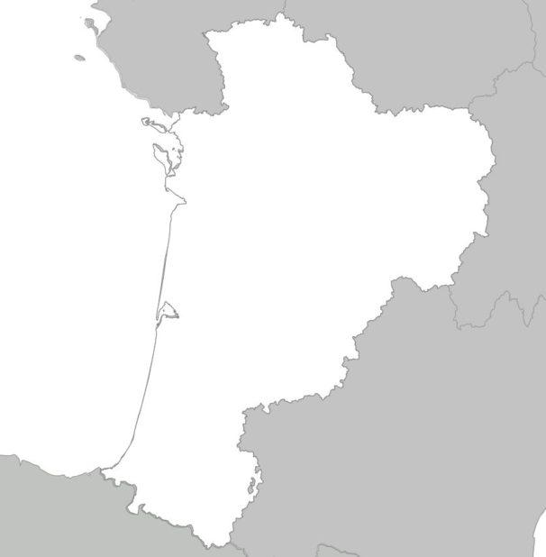 Carte vierge Nouvelle-Aquitaine