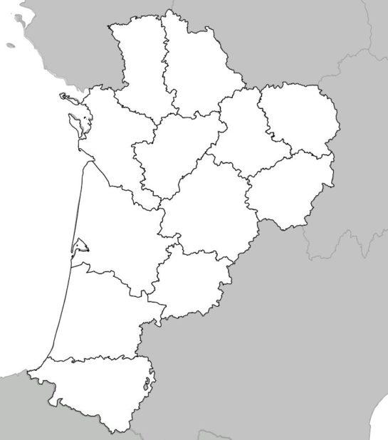 Carte vierge de la Nouvelle-Aquitaine (région) avec département