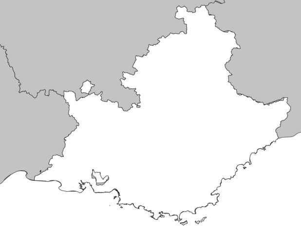 Carte vierge de la région Provence-Alpes-Côte d'Azur