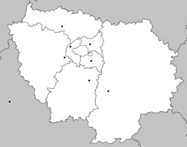 Carte vierge de la région Parisienne