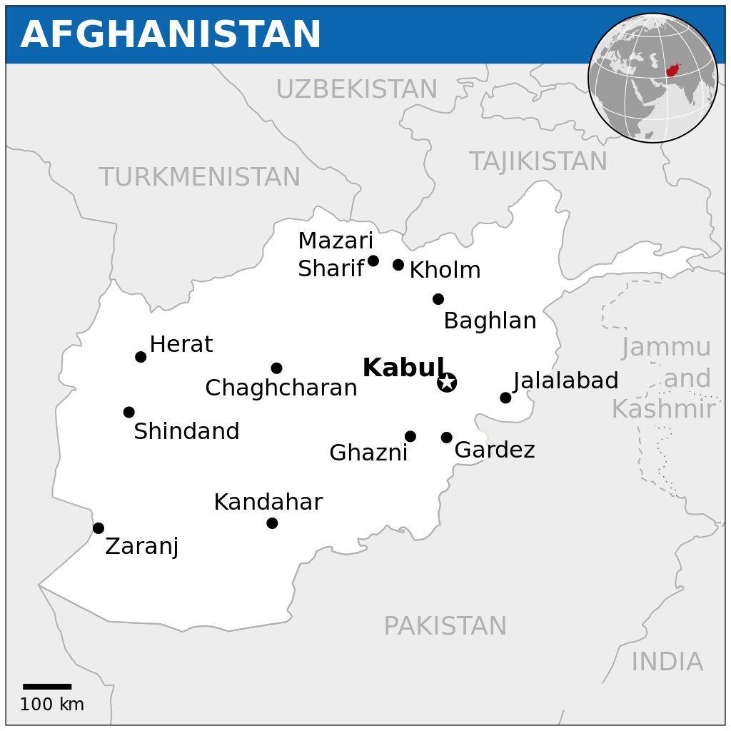 Carte des villes de l'Afghanistan
