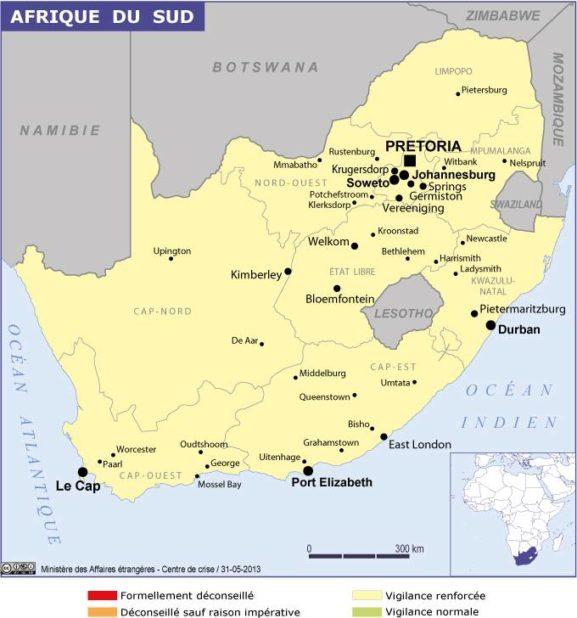 Carte des villes d'Afrique du Sud