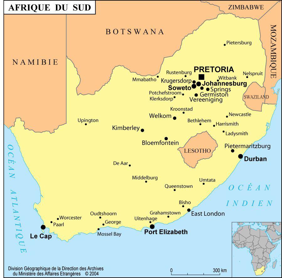 Carte De Lafrique Du Sud Avec Les Villes.Carte De L Afrique Du Sud Afrique Du Sud Carte Sur Le