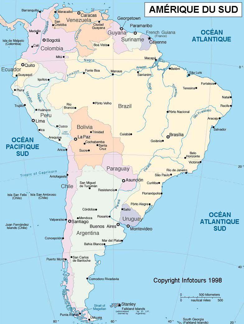 Carte Amerique Ville.Carte De L Amerique Du Sud Actualitix Blog De Cartes