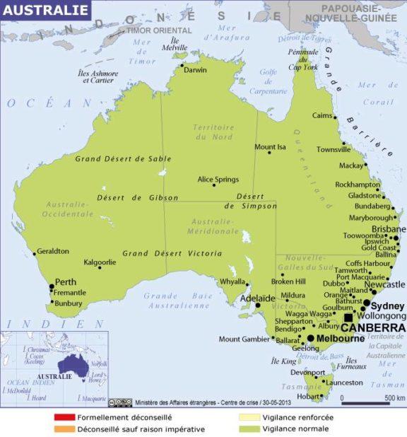 Carte des villes de l'Australie