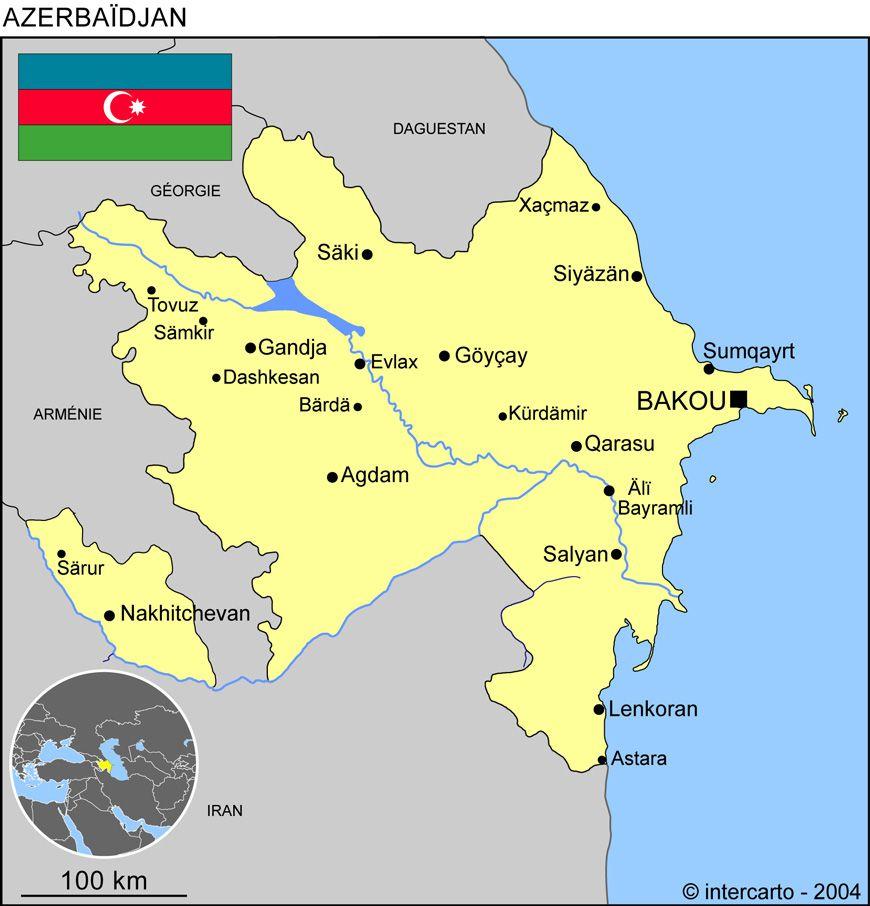 Carte des villes de l'Azerbaïdjan