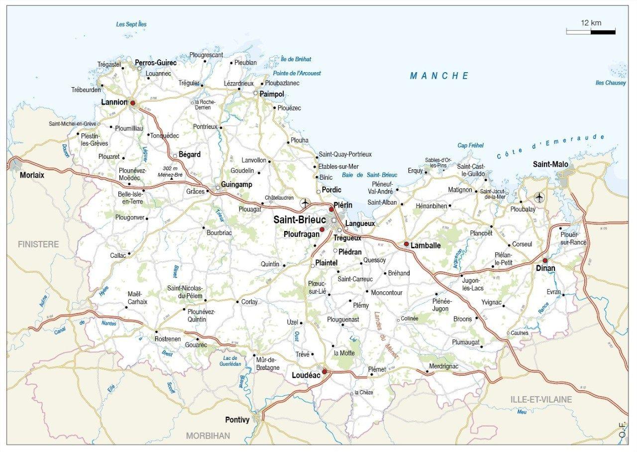 Carte des villes des Côtes-d'Armor