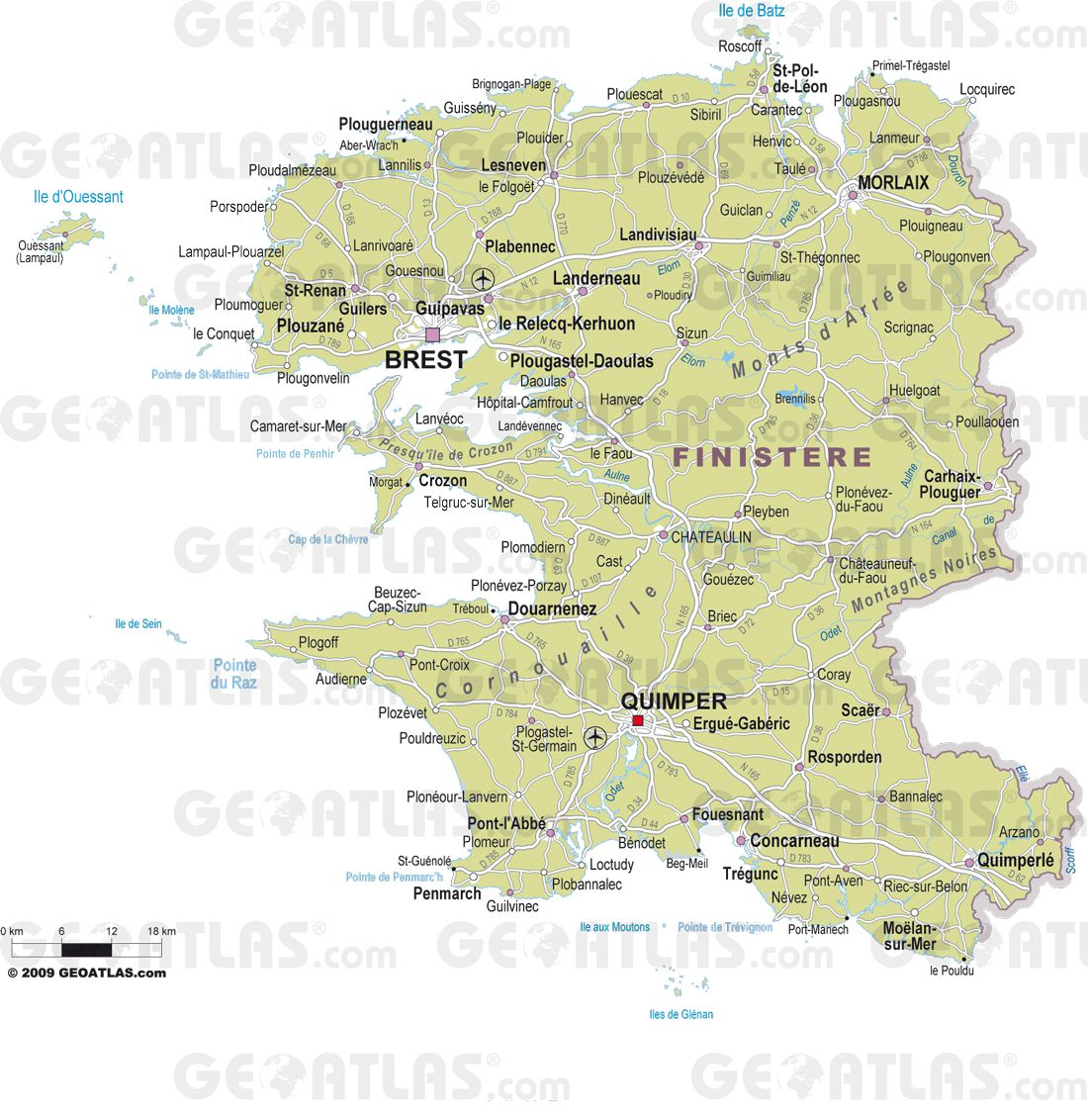 Carte des villes du Finistère