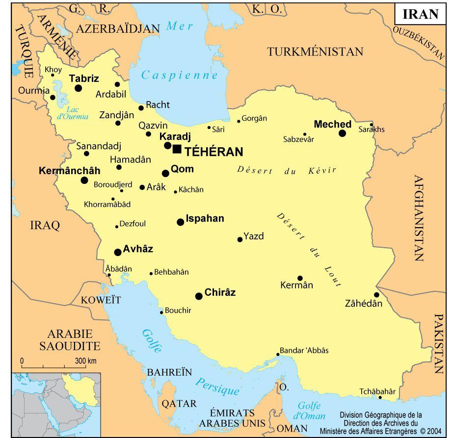 Carte des villes de l'Iran