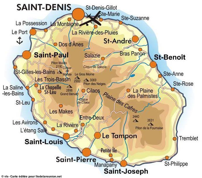 Carte des villes de La Réunion
