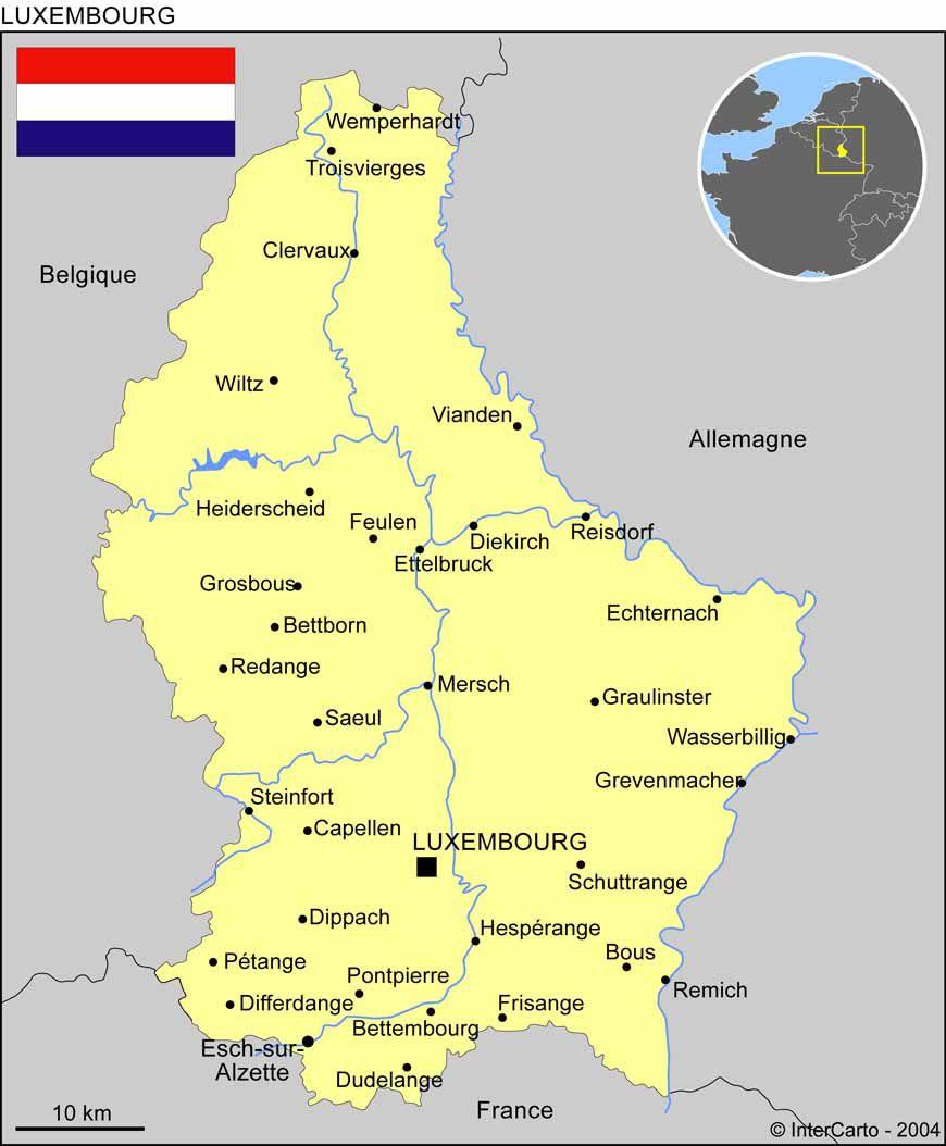 Carte des villes du Luxembourg