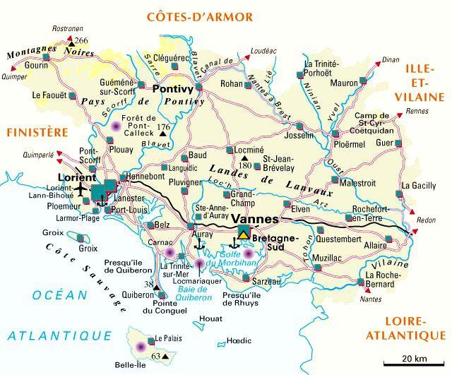 Carte des villes du Morbihan
