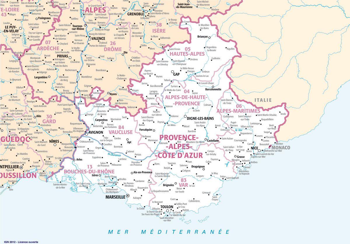 Carte des villes PACA (Provence Alpes Côte d'Azur)