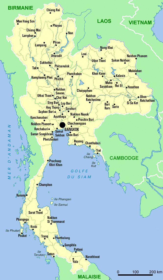 Carte des villes de Thaïlande