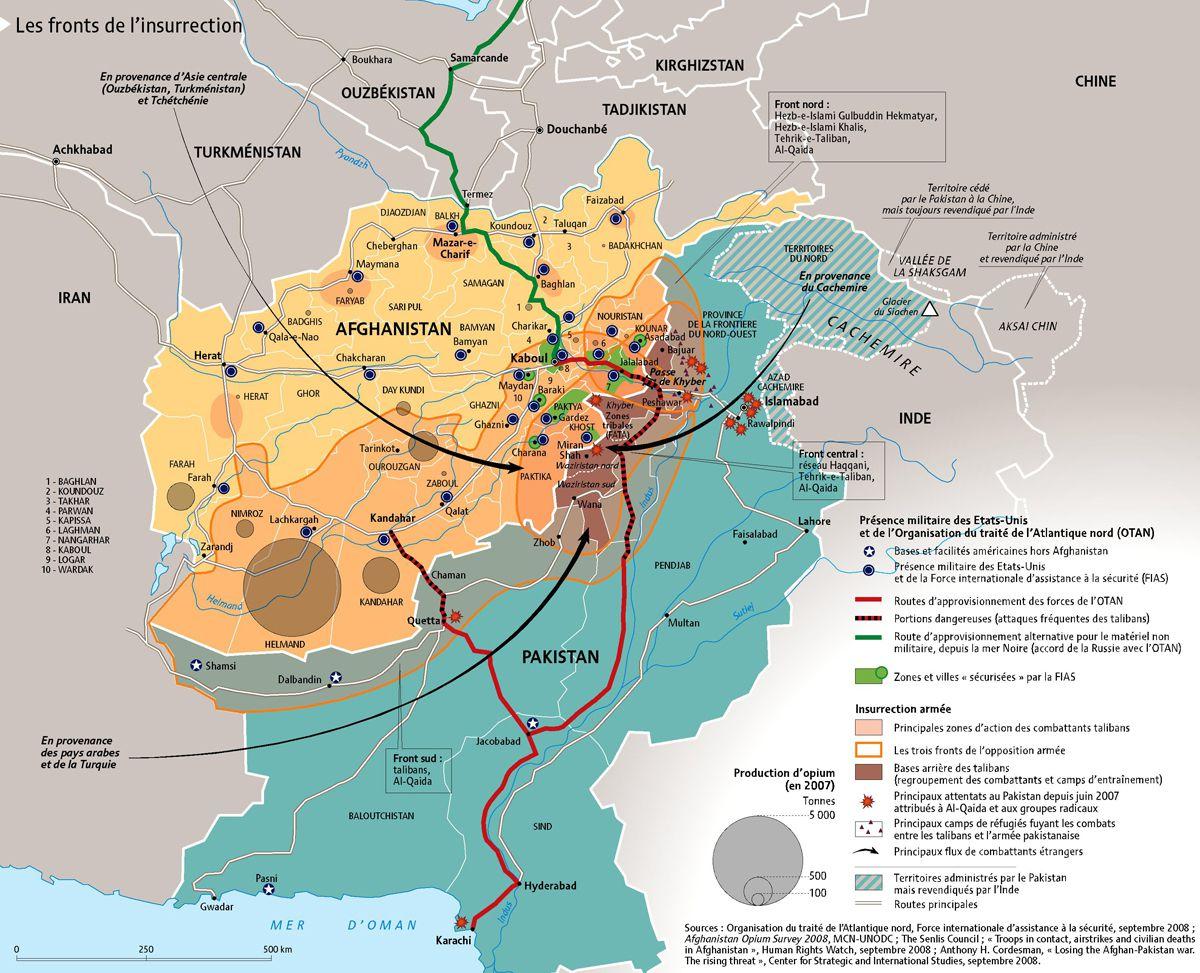 Carte des zones dangereuses en Afghanistan