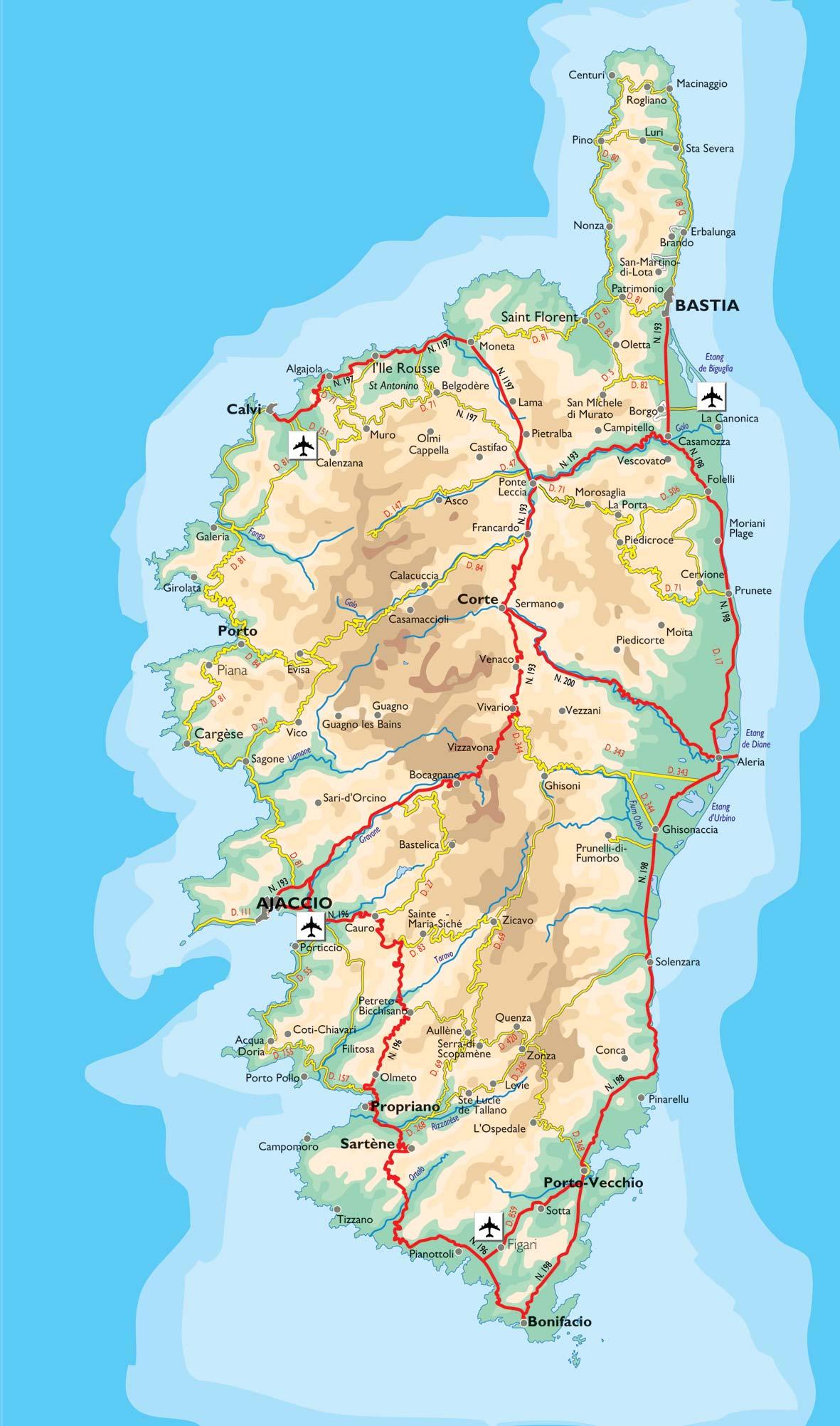 Carte Corse Gratuite Imprimer.Carte De La Corse Corse Cartes Des Villes Reliefs Sites