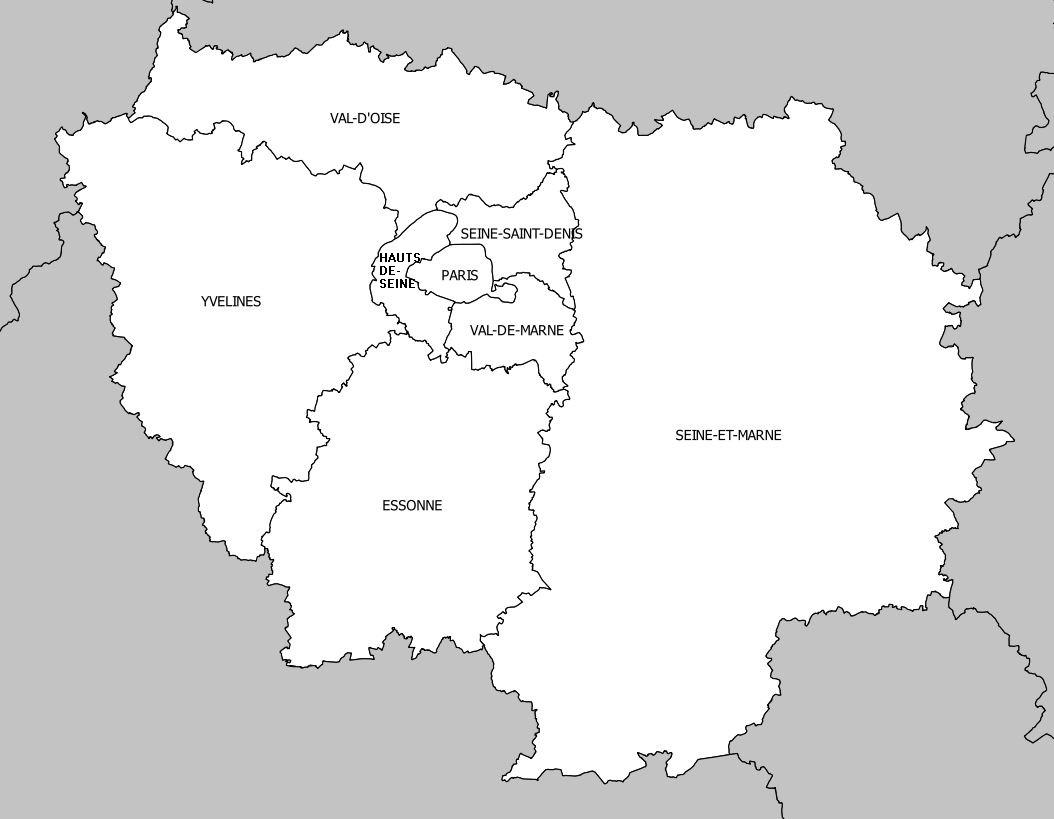 Carte de l'Île-de-France - Île-de-France carte des villes, reliefs, départements