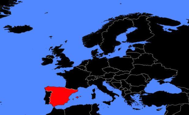 Espagne sur une carte d'Europe