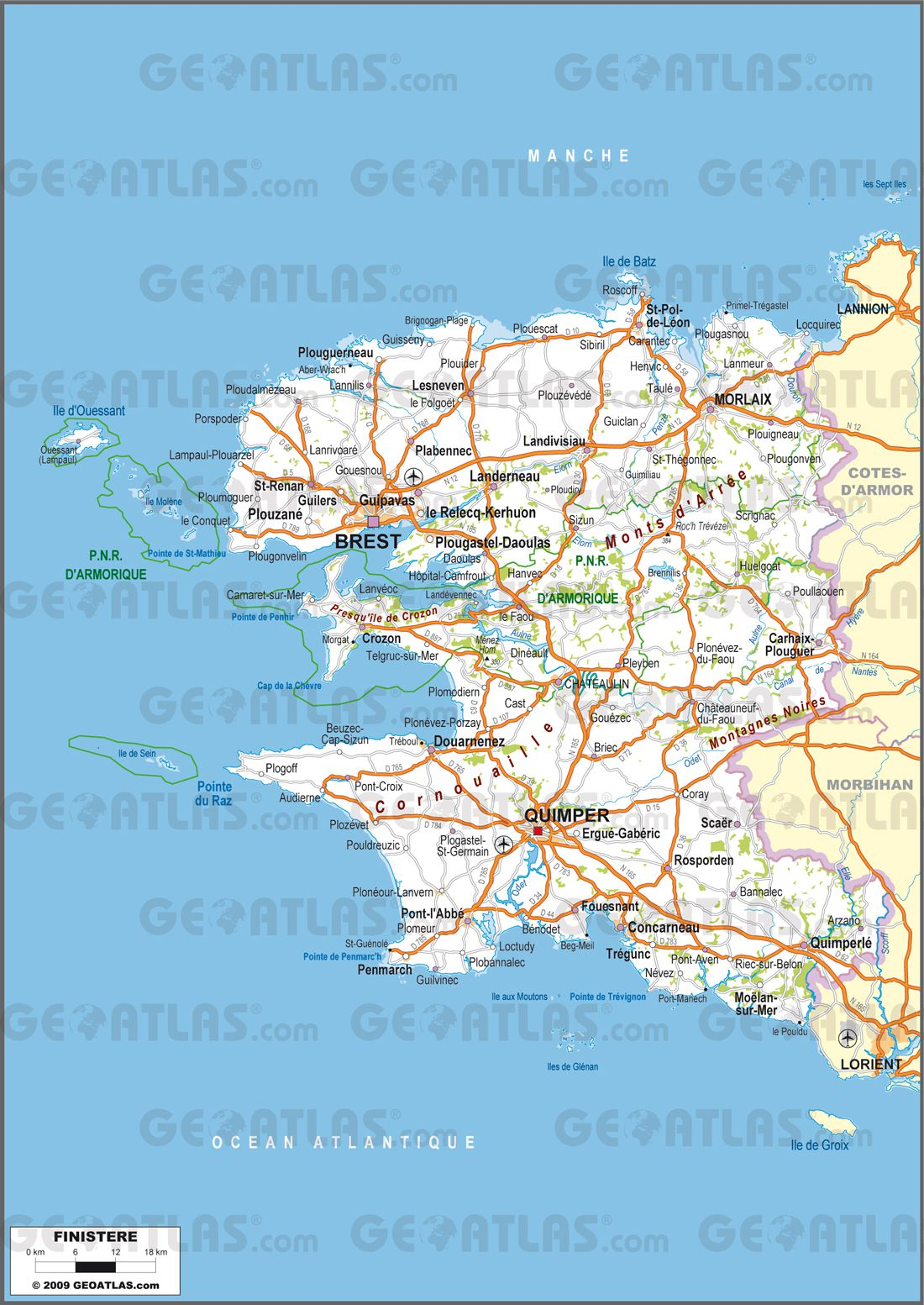 carte routiere nord finistere - Image