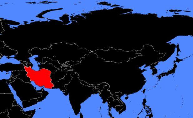 Iran sur une carte de l'Asie